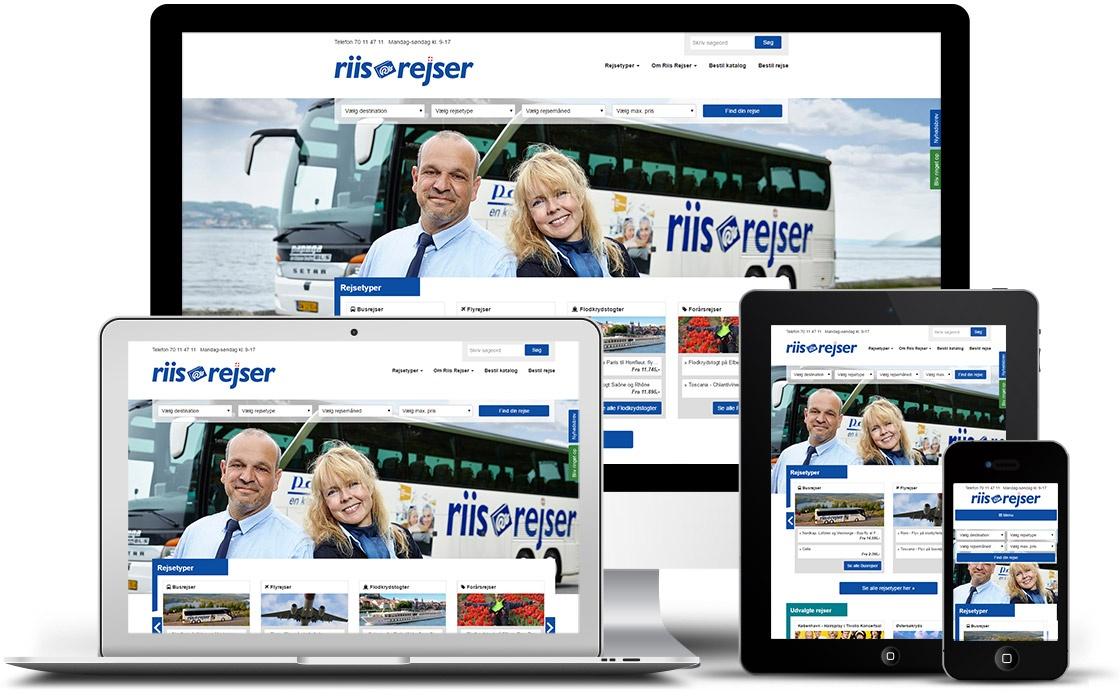 Riis Rejsers hjemmeside med online booking og CMS