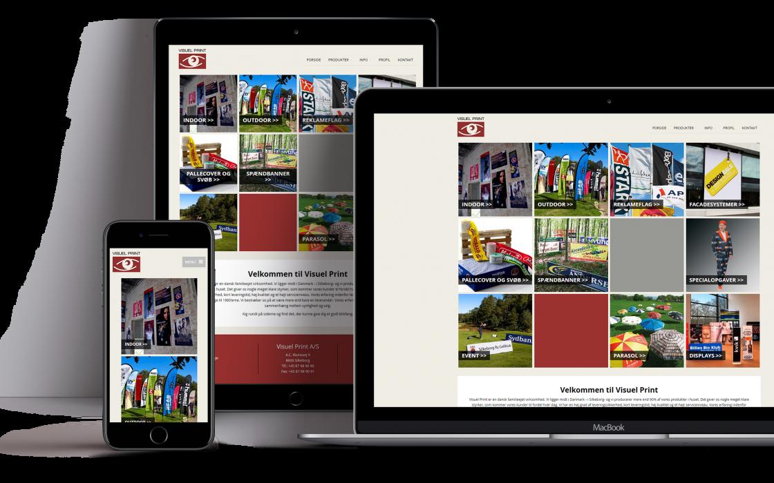 Billede der viser visuel-prints design på mobil, tablet og computer